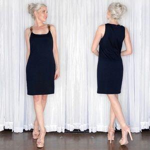 Michael Kors Navy Leather Buckle Strap Mini Dress